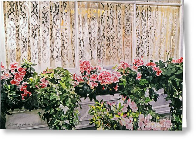 Lace Curtains Greeting Cards - Flowers and Lace Greeting Card by David Lloyd Glover