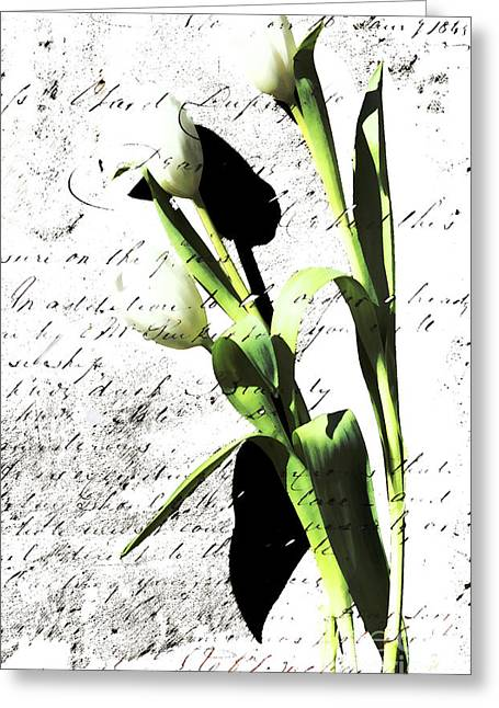 Love Letter Mixed Media Greeting Cards - Flowers and Love Letters Greeting Card by Anahi DeCanio - ArtyZen Studios