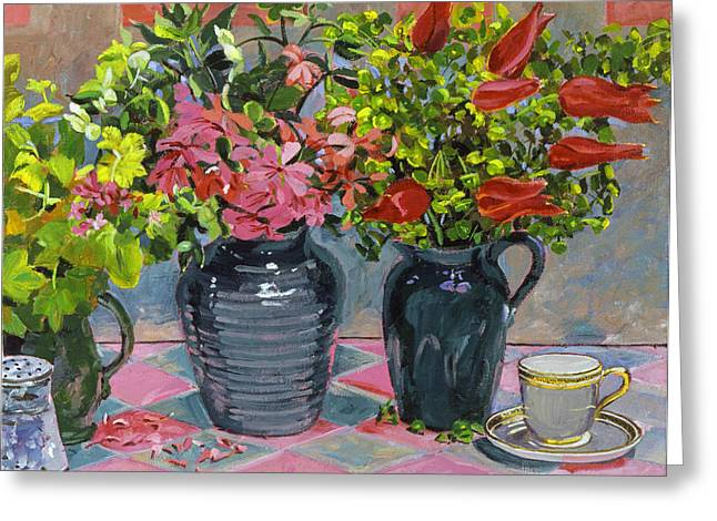 Flowers and Pitchers Greeting Card by David Lloyd Glover