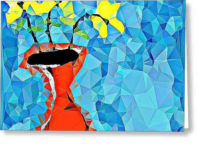 Flowers And Vase Greeting Card by Paulo Guimaraes