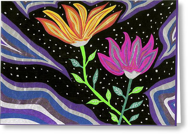 Lanscape Drawings Greeting Cards - Flowers At Night Greeting Card by Michelle Meaney