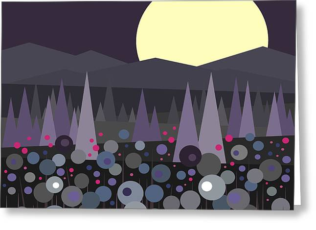 Muted Palette Greeting Cards - Flowers at Night Greeting Card by Val Arie