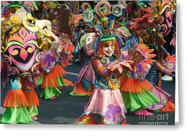 Festivities Greeting Cards - Flowers at the Masskara Festival Greeting Card by Stacey Leigh Gonzalez