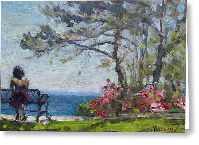 Lake Paintings Greeting Cards - Flowers by Lake Ontario Greeting Card by Ylli Haruni