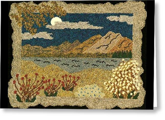 Primitive Tapestries - Textiles Greeting Cards - Flowers By The Lake Greeting Card by Jan Schlieper