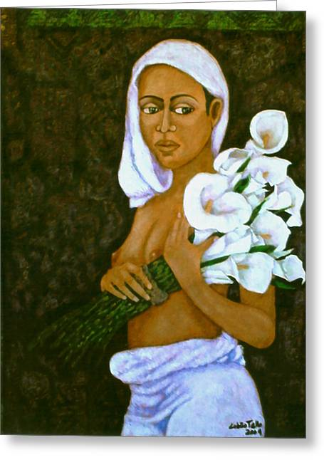 Mulher Greeting Cards - Flowers for an old love Greeting Card by Madalena Lobao-Tello