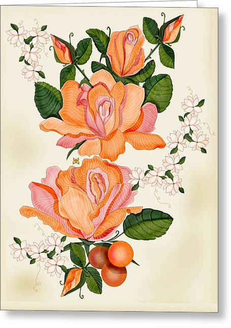 Hand Drawn Greeting Cards - Flowers for Helen Greeting Card by Anne Norskog