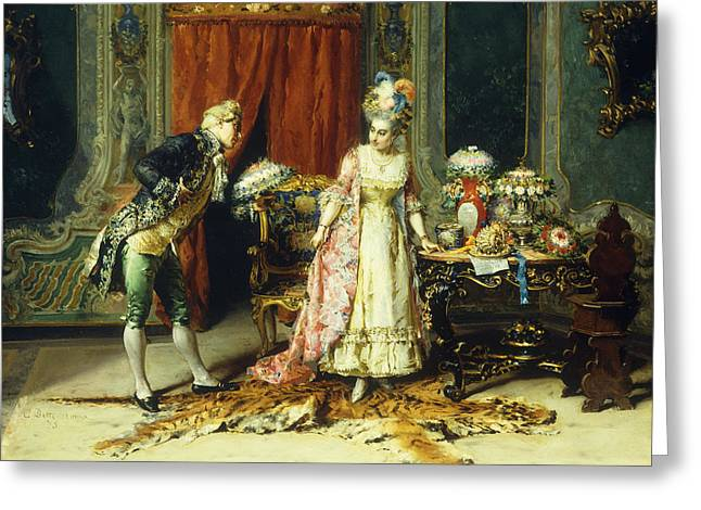 Flowers For Her Ladyship Greeting Card by Cesare-Auguste Detti