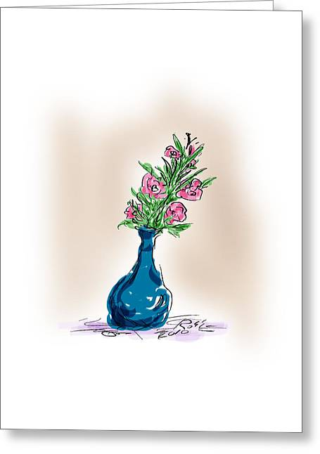 Pen And Ink Drawing Greeting Cards - Flowers for Her Greeting Card by Ross Powell