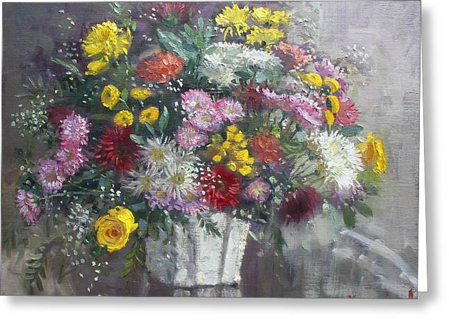 Vase Of Flowers Paintings Greeting Cards - Flowers for Viola Greeting Card by Ylli Haruni