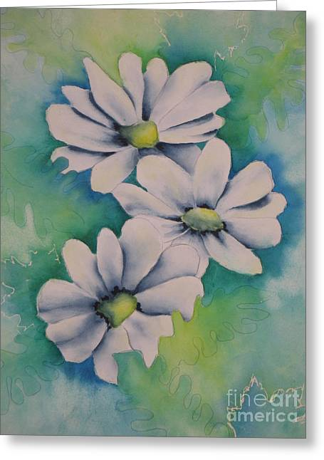 Green Abstract Greeting Cards - Flowers for You Greeting Card by Chrisann Ellis