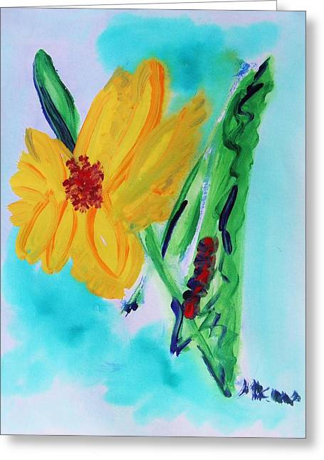Print On Acrylic Drawings Greeting Cards - Flowers from Eden 1 Greeting Card by Mary Carol Williams