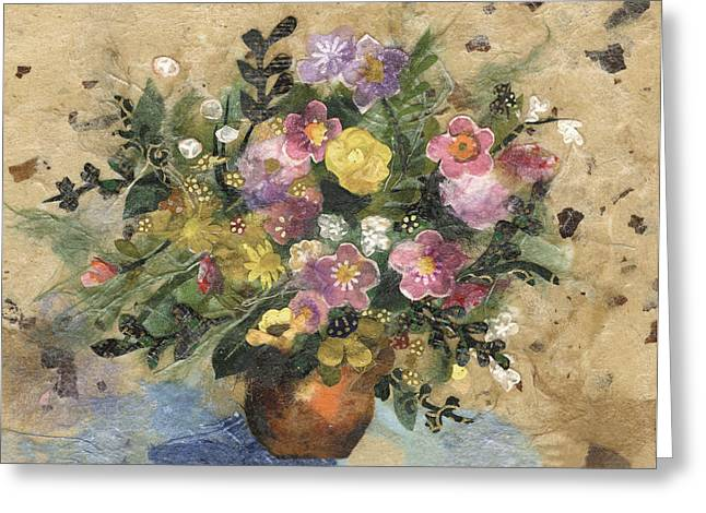 Limited Edition Mixed Media Greeting Cards - Flowers in a Clay Vase Greeting Card by Nira Schwartz