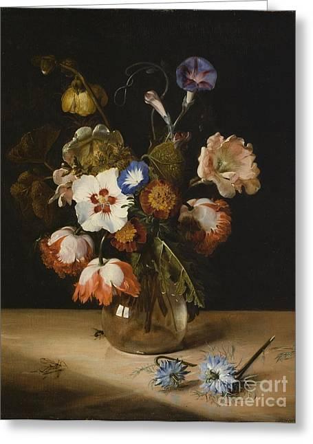 Glass Vase Greeting Cards - Flowers in a Glass Vase Greeting Card by Dirck de Bray
