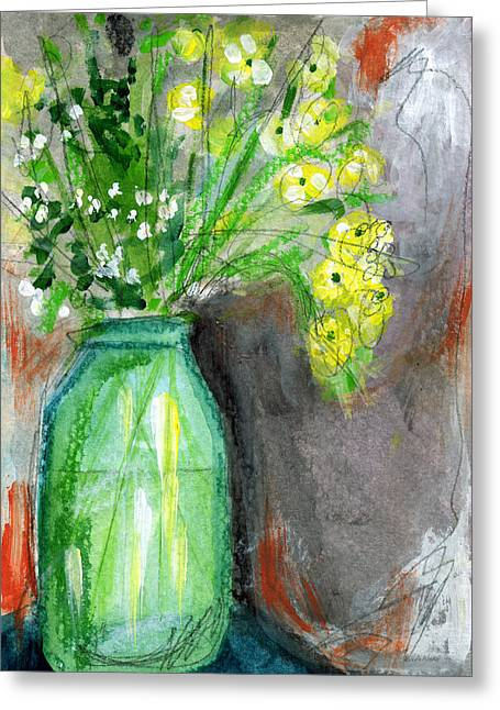 Interior Still Life Greeting Cards - Flowers In A Green Jar- Art by Linda Woods Greeting Card by Linda Woods