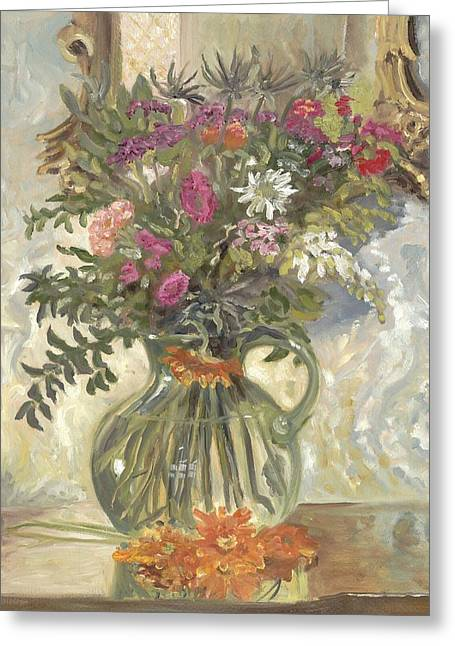 Water Jug Greeting Cards - Flowers in a Green Jug Greeting Card by Katherine Farrell