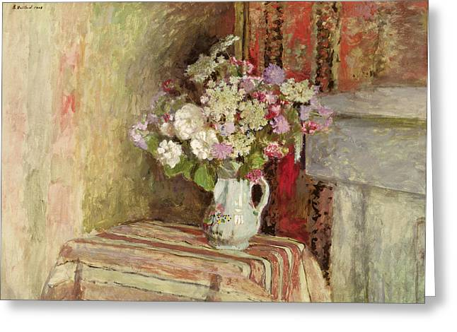 Signature Greeting Cards - Flowers in a Vase Greeting Card by Edouard Vuillard