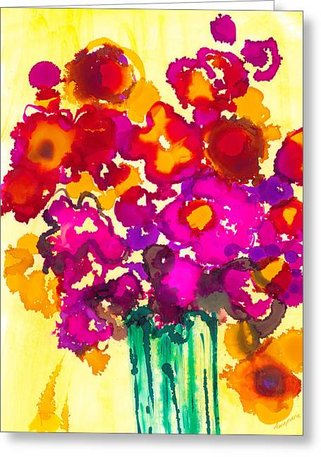 Flowers In A Vase - Modern Art Greeting Card by Patricia Awapara
