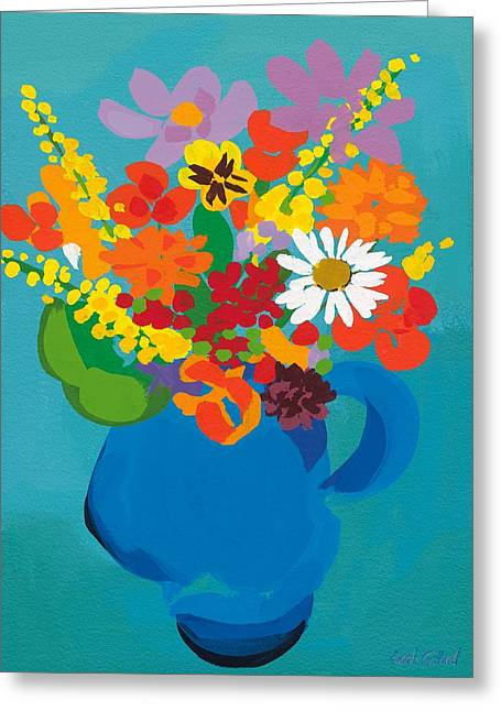 Bold Art Greeting Cards - Flowers in Blue Jug Greeting Card by Sarah Gillard