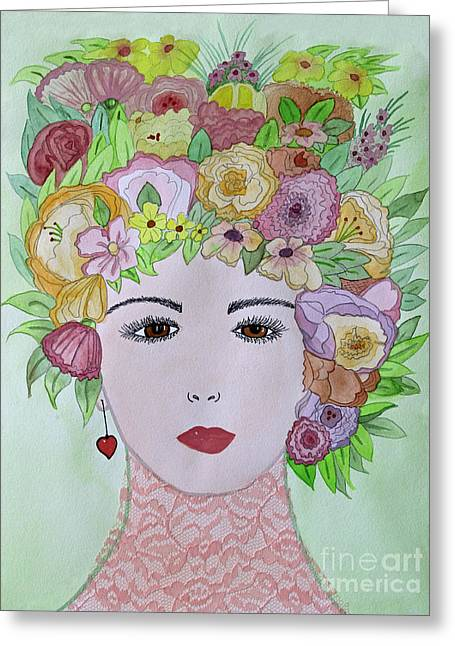 Appleton Art Greeting Cards - Flowers in Her Hair Greeting Card by Norma Appleton