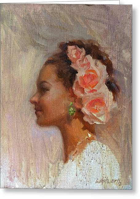 Updo Greeting Cards - Pretty Flowers - Portrait of Young Woman Greeting Card by Karen Whitworth