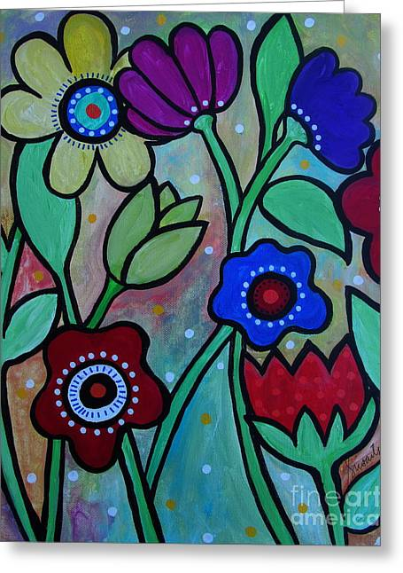 Interior Still Life Greeting Cards - Flowers In Spring Greeting Card by Pristine Cartera Turkus