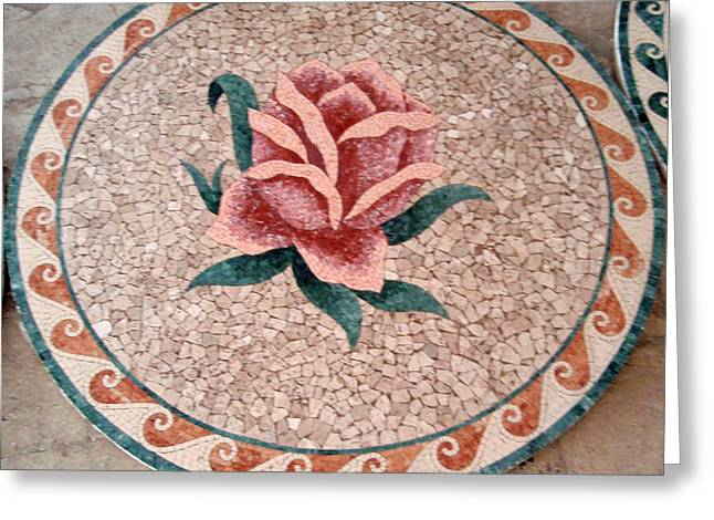 Mosaic Reliefs Greeting Cards - Flowers In Stone Mosaic Greeting Card by Petrit Metohu
