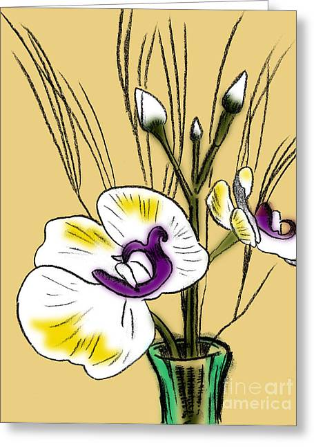 Floral Pastels Greeting Cards - Flowers in Vase Greeting Card by Robert Ball