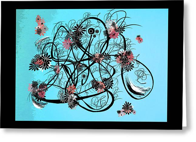 Canadian Drawings Drawings Greeting Cards - Flowers n Swirls  Greeting Card by Heather  Plewes
