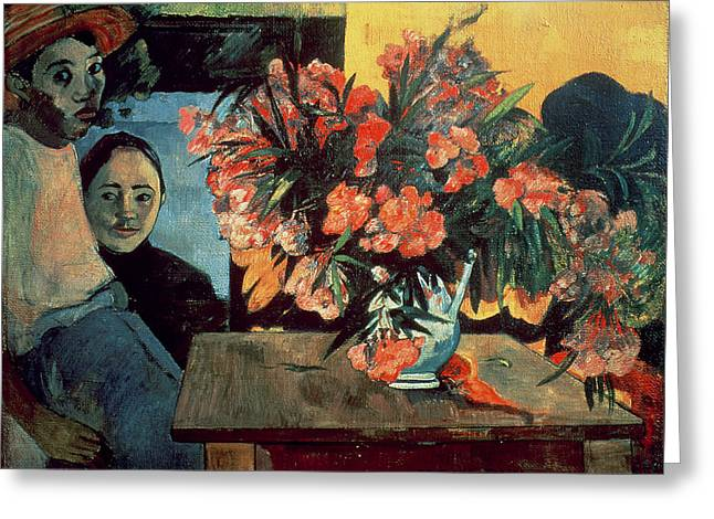 Flowers On Hat Greeting Cards - Flowers of France Greeting Card by Paul Gauguin