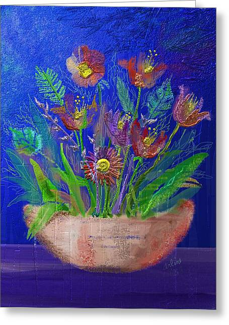 Potted Plant Digital Art Greeting Cards - Flowers On Blue Greeting Card by Arline Wagner