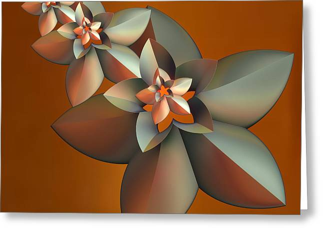 Incendia Greeting Cards - Flowers On Bronze Greeting Card by Deborah Benoit