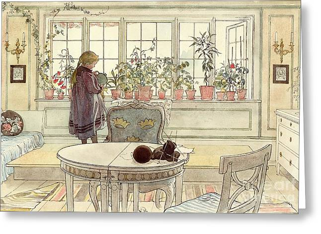 On Paper Paintings Greeting Cards - Flowers on the Windowsill Greeting Card by Carl Larsson