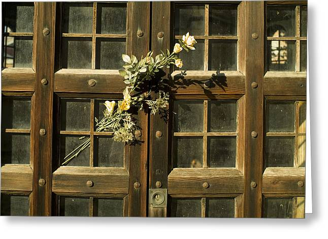 Michele Greeting Cards - Flowers On The Wooden Door Greeting Card by Todd Gipstein