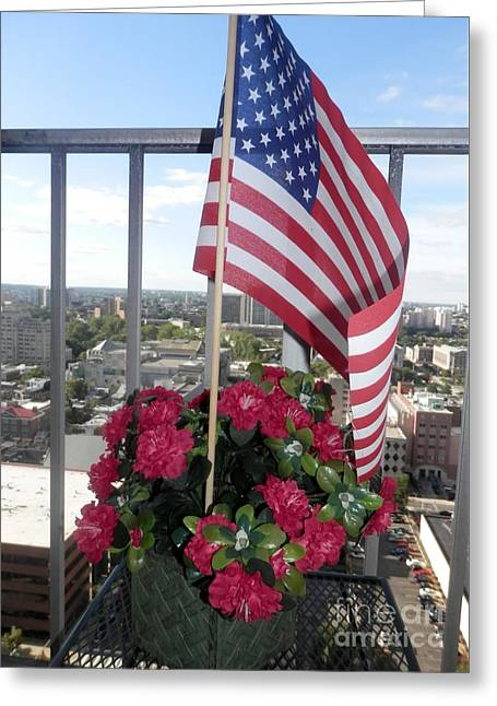 Flag Of Usa Greeting Cards - Flowers Pride Greeting Card by Hammel