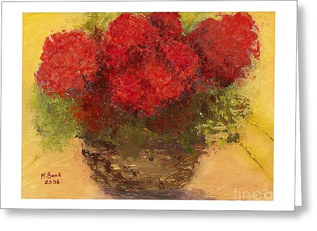 Red Geraniums Mixed Media Greeting Cards - Flowers Red Greeting Card by Marlene Book