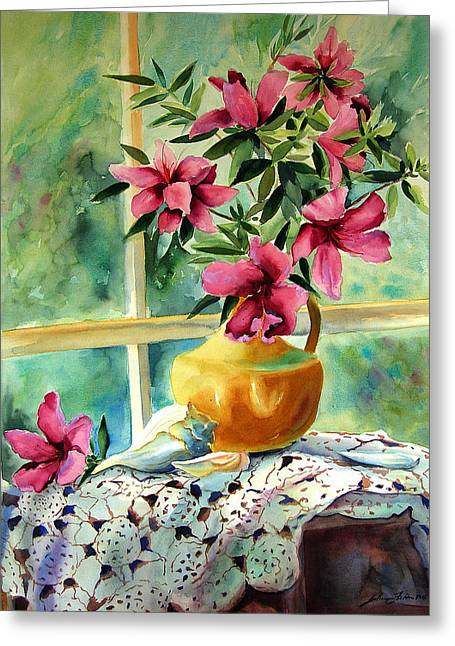 Julianne Felton Greeting Cards - Flowers shells and lace Greeting Card by Julianne Felton