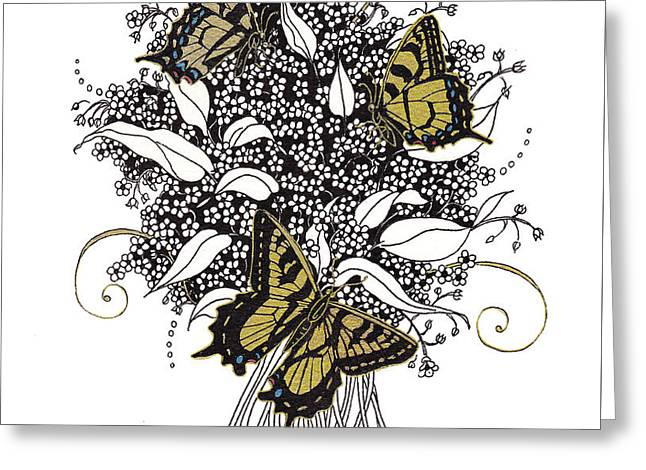 Pen Greeting Cards - Flowers That Flutter Greeting Card by Stanza Widen