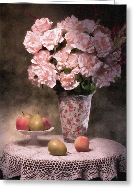 Compote Greeting Cards - Flowers With Fruit Still Life Greeting Card by Tom Mc Nemar
