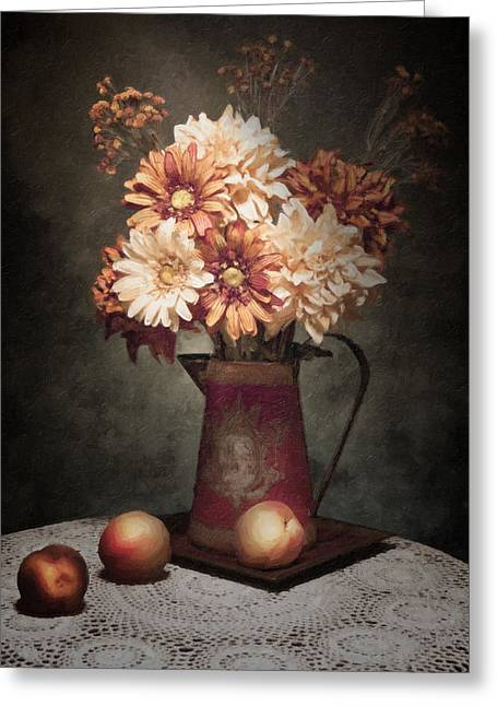Dutch Masters Greeting Cards - Flowers with Peaches Still Life Greeting Card by Tom Mc Nemar