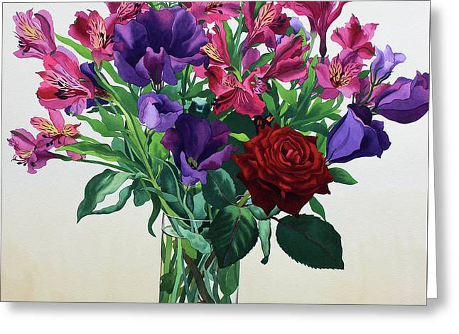 Flowers With Red Rose Greeting Card by Christopher Ryland
