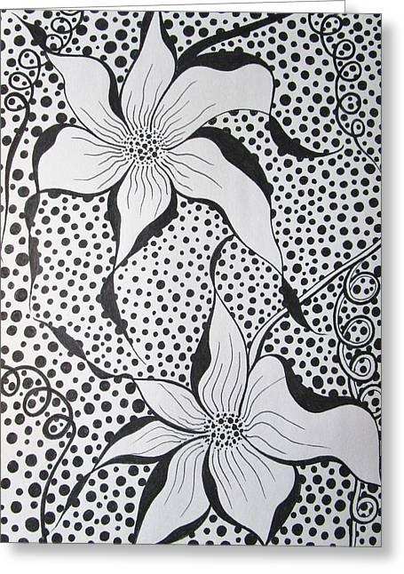 Flowery Spot Greeting Card by Rosita Larsson