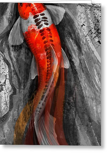 Fin Greeting Cards - Flowing Koi Greeting Card by Steve Goad