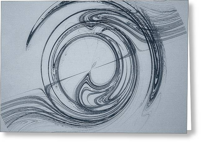 Abstract Digital Photographs Greeting Cards - Flowing Rhythms Abstract on Blue Greeting Card by Jan Tyler