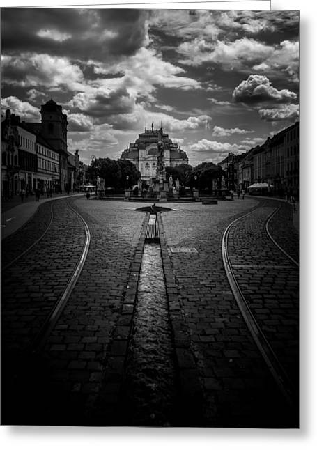Canal Street Line Greeting Cards - Flowing Street of Kosice Greeting Card by Justin Woodhouse
