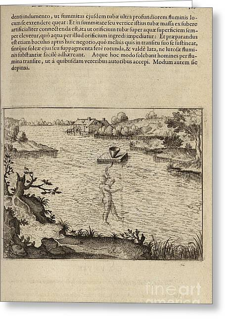 Fludd Greeting Cards - Fludds Underwater Breathing Apparatus Greeting Card by Folger Shakespeare Library