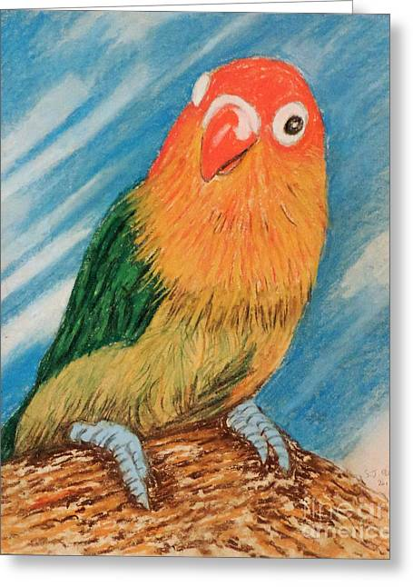 Brook Pastels Greeting Cards - Fluffy Lovebird Greeting Card by Stephen Brooks