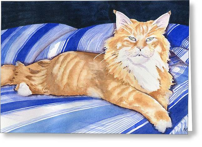 Lioness Paintings Greeting Cards - Fluffy the Lioness Greeting Card by Marsha Elliott