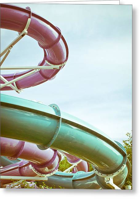 Recreational Pool Greeting Cards - Flumes Greeting Card by Tom Gowanlock
