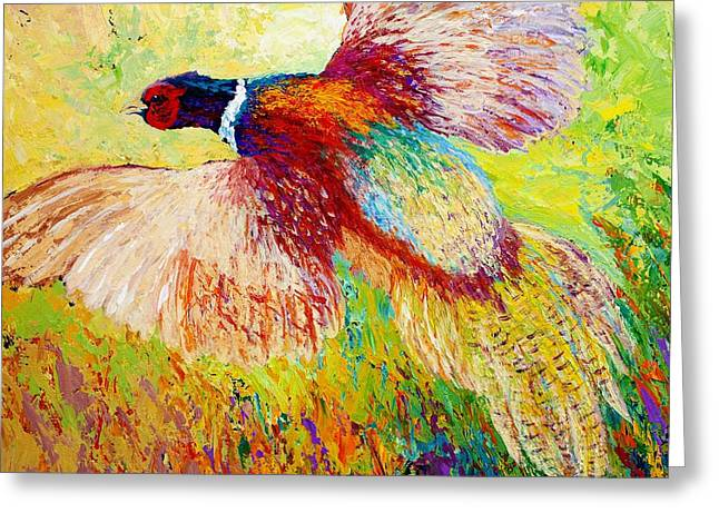 Hunting Paintings Greeting Cards - Flushed - Pheasant Greeting Card by Marion Rose